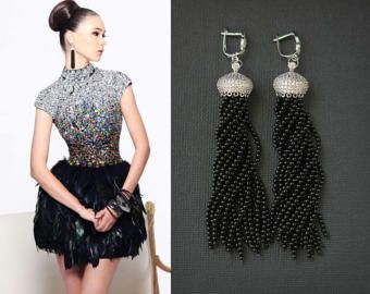 Natural Black Onyx Gemstone Tassels Earrings with Cubic Zirconia Gold Plated Details