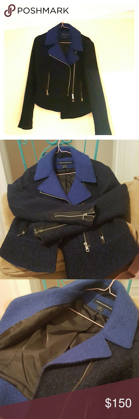 Thick Chic Blazer Wool, leather and polyester French Connection Blazer is a MUST for this winter. Keeps you warm without drowning you in length. Sassy leather trimmed zippers and beautiful black and blue layered colors. French Connection Jackets & Coats Blazers