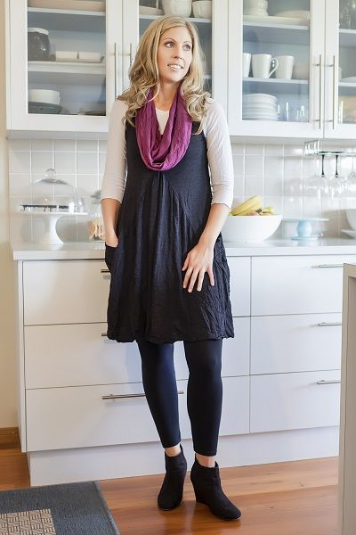 Wool Draped pocket tunic dress. Light weight merino wool for cool Autumn days . Team with a 3/4 sleeve tee scarf and leggings. Gorgeous casual style!