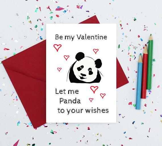 Valentines Day Card Panda Valentine S Day Card Be My Etsy Valentines Cards Panda Card Valentines