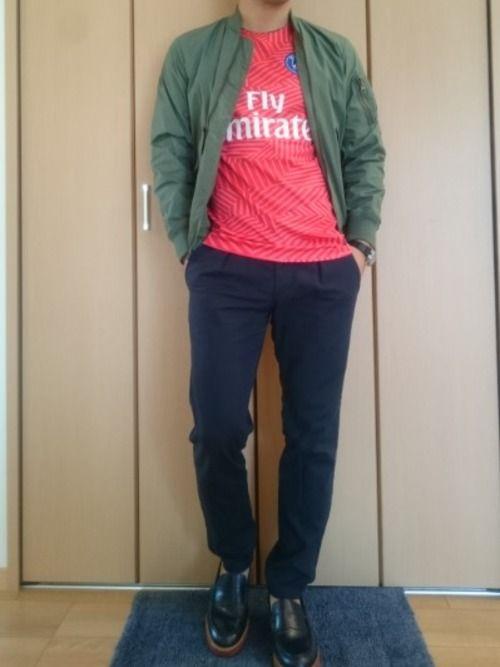 MA-1🎵にサッカーシャツ👕(パリサンジェルマン) サッカーシャツは素材感とデザインがとてもいい