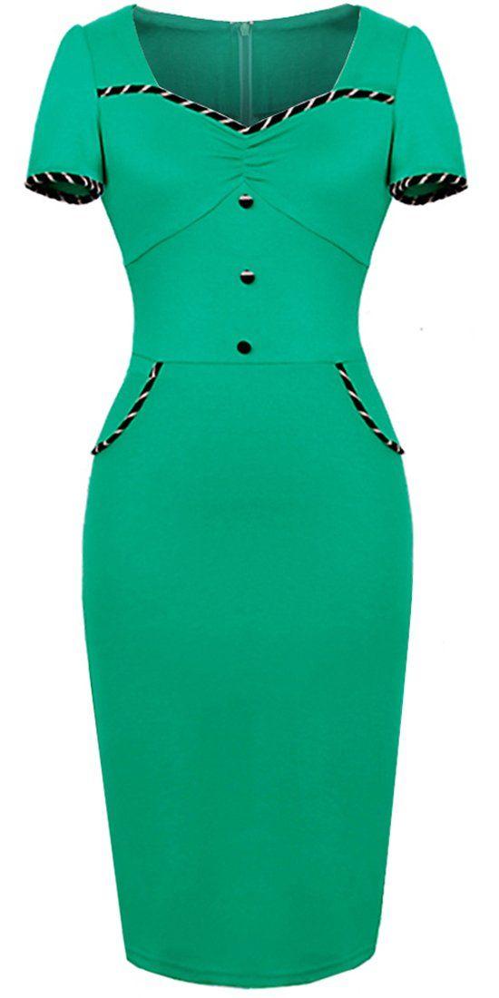 Homeyee® Women's Vintage Sheath Wiggle Dress U729 at Amazon Women's Clothing store: