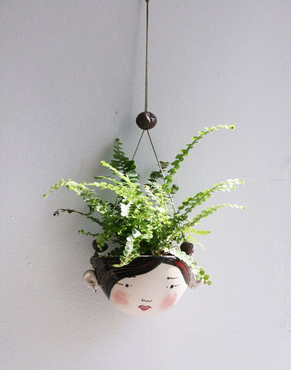 Ceramic mini hanging planter - Piper - chocolate brown and red-succulent or air plant