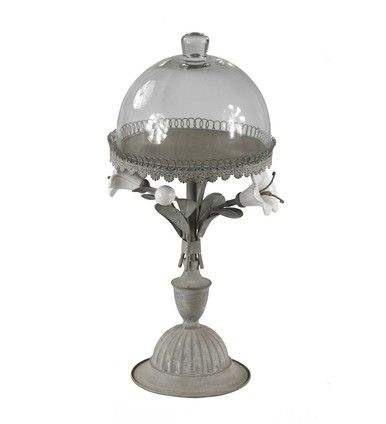 Distressed Finish Gray Metal Floral Design Candle Holder W/ Glass Cloche Top