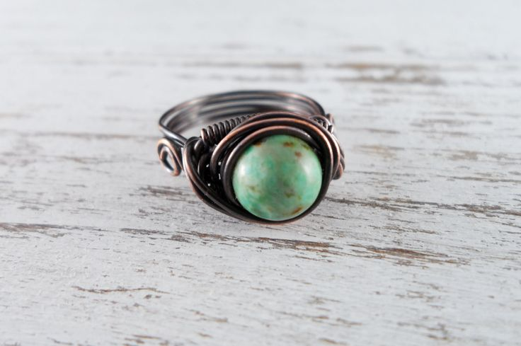 Wire Wrapped Ring African Turquoise Ring Copper Ring Dragons Eye Ring Wire Wrapped Jewelry Copper Jewelry by PolymerPlayin on Etsy