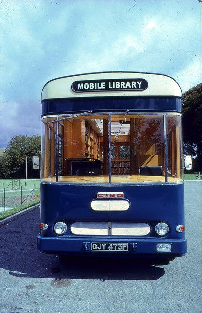 Mobile Library; I love that you can see the wooden shelves through the window!