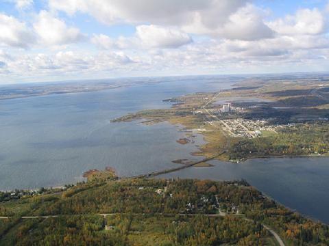Aerial view of Wabamun, Alberta