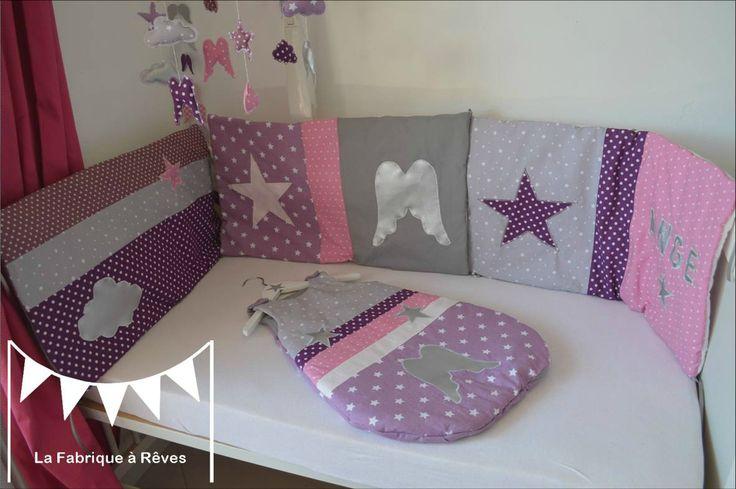 turbulette gigoteuse douillette tour de lit bébé naissance thème ange étoiles parme mauve violet argent gris rose
