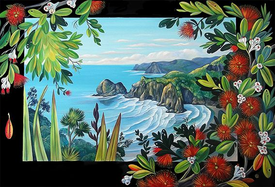 A view of White's Beach through the Pohutukawa- by Irina Velman of Auckland, NZ. Artprints on canvas and paper available from www.imagevault.co.nz