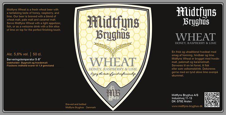 Wheat / En frisk og utraditionel hvedeøl med smag af honning, hindbær og lime. Midtfyns Wheat er brygget med hvedemalt, palemalt og karamelmalt.  Serveres til en let forret, til fisk eller som velkomstdrink. Dekoreres gerne med en tynd skive lime ovenpå skummet.