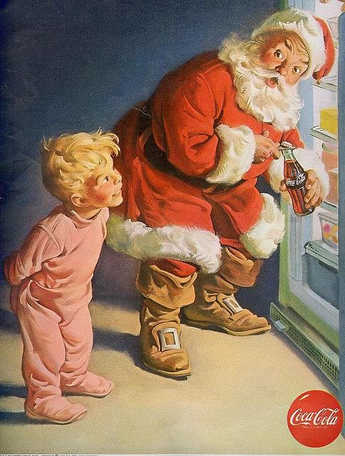 vintage Santa Christmas Coca Cola ad.     Does anyone else find it odd that this boy child is in pink pajamas?  This was a 50s ad, and pastel pink and blue were very much gender specific colors. Heck it's still that way in the 21st century!  Many of the old stereotypes have been removed, but gender specific colors are still pretty prevalent. imo: