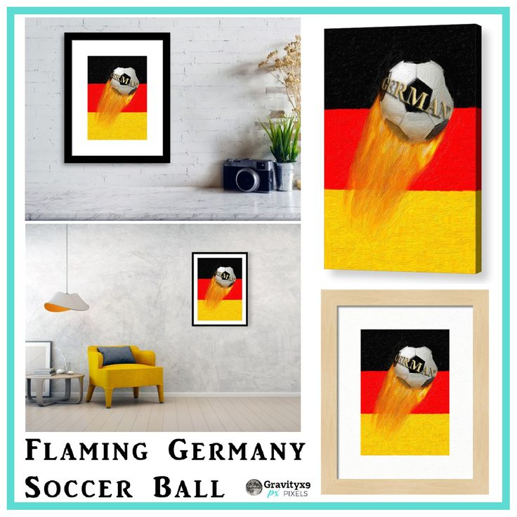Flaming Germany Soccer Ball   Wall Decor, Posters, Canvas prints and more at #Pixels by #gravityx9  ~ Germany Soccer Ball on German Flag colors ~ #sports4you #soccer #soccerball #germany #german #Sportsdecor #sports