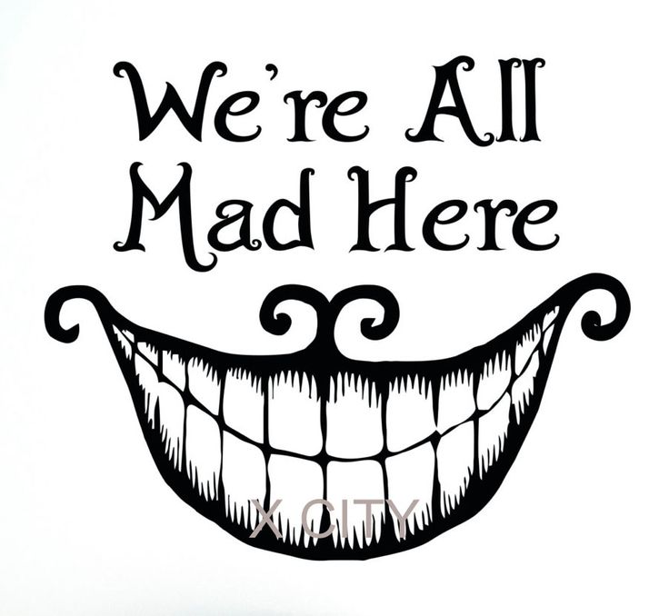 alice in wonderland wall decal vinyl cut sticker art quote were all mad here cheshire cat smile sayings kids bedroom home decorchina mainland mais - Cheshire Cat Smile Coloring Pages