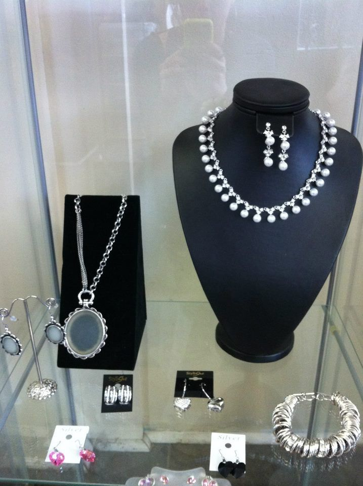 Beautiful silver necklaces and earrings.