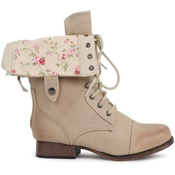 Combat Boot with Floral Fold Over Cuff (100 BRL) ❤ liked on Polyvore featuring shoes, boots, ankle booties, sapatos, chaussures, fold over boots, floral boots, fold-over boots, foldable boots and floral combat boots