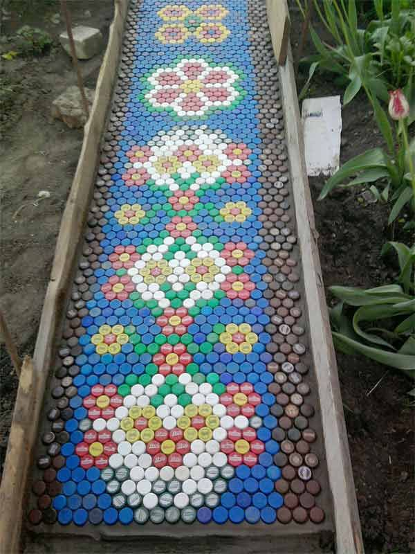 pathway made from bottle caps