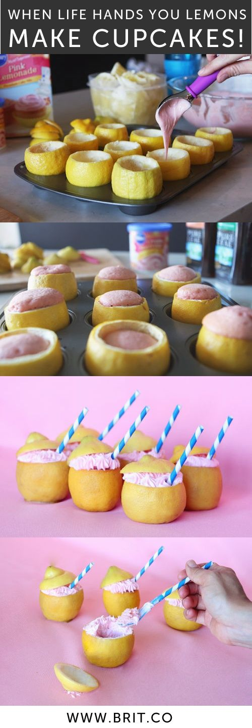 Mix tea + lemonade cake mix, pour into lemon rinds, and bake for a new spin on cupcakes! So fun for parties.