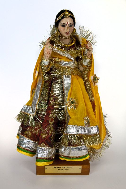 India Bride Doll from Rajasthani Wearing Red and Gold Dress with Choli, Ghagra, and Dupatta (Full View) | ClipPix ETC: Educational Photos for Students and Teachers