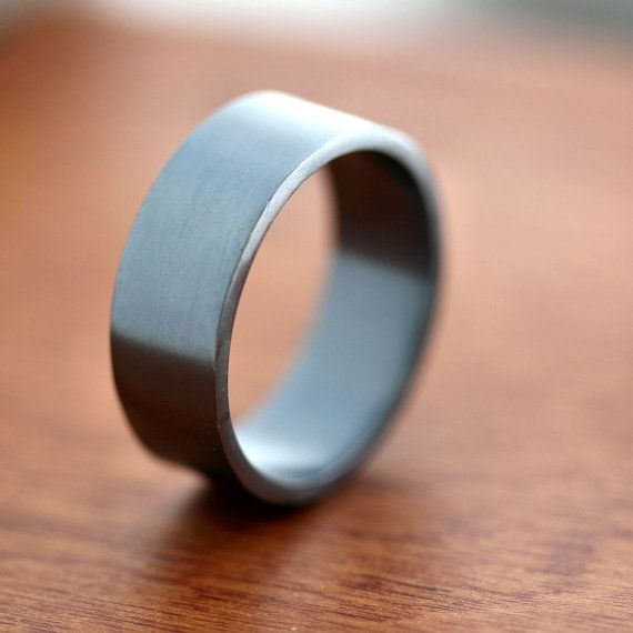 Men's Silver Wedding Band 8mm Wide Simple Flat Band by TheSlyFox, $88.00