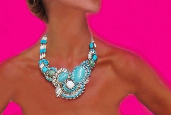 Turquoise Statement  Necklace  Native American by SharonaNissan