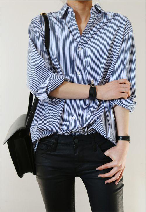 Blue striped shirt & black leather pants