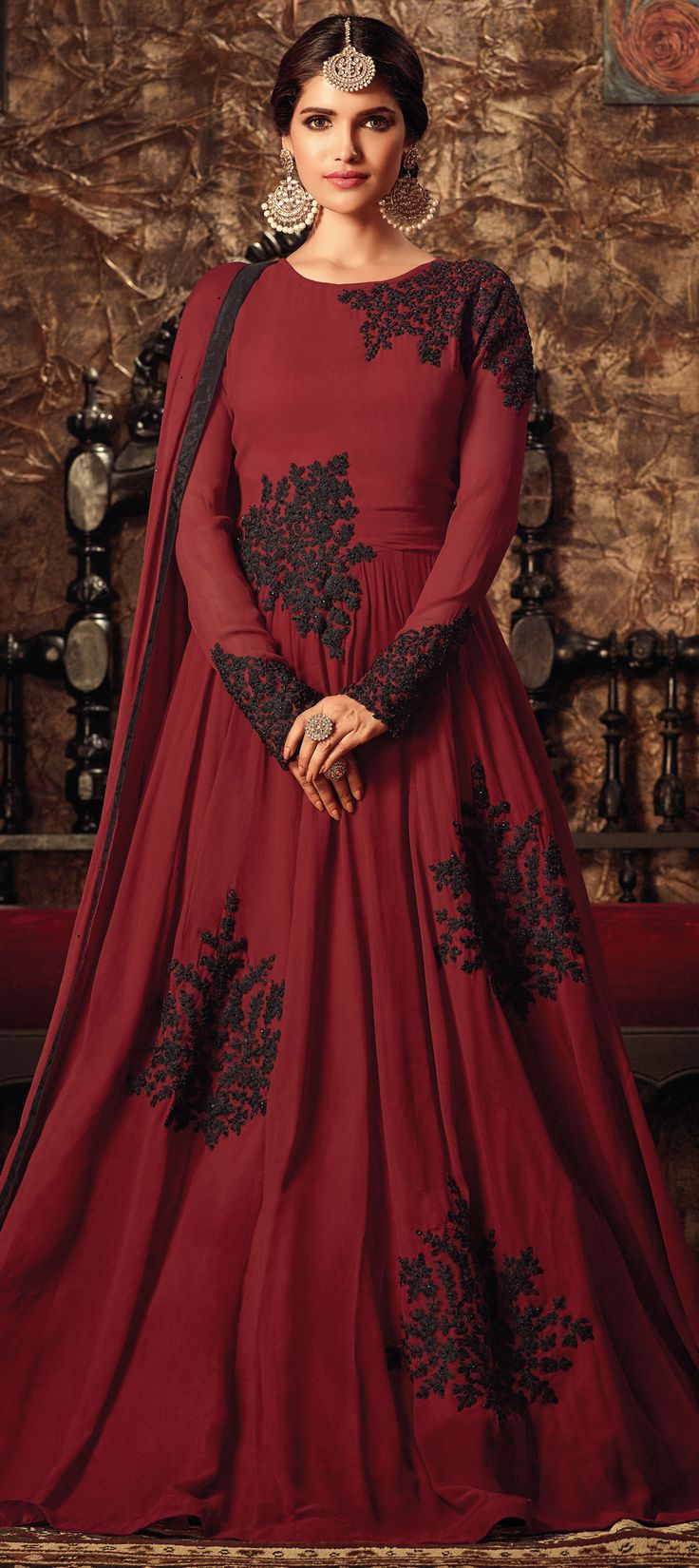 491704: Red and Maroon  color family  stitched Bollywood Salwar Kameez .