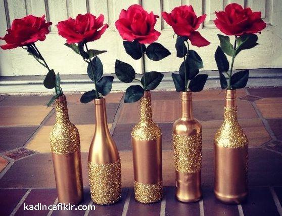Altın gold pırıltılı simli süslemeli ince zarif gül vazosu vazo cam şişe süs eşyası modeli   Kadınca Fikir