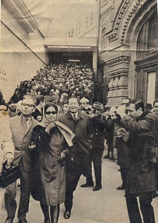 Umm Kulthum during her visit to the Opera House in Paris in 1967 ....