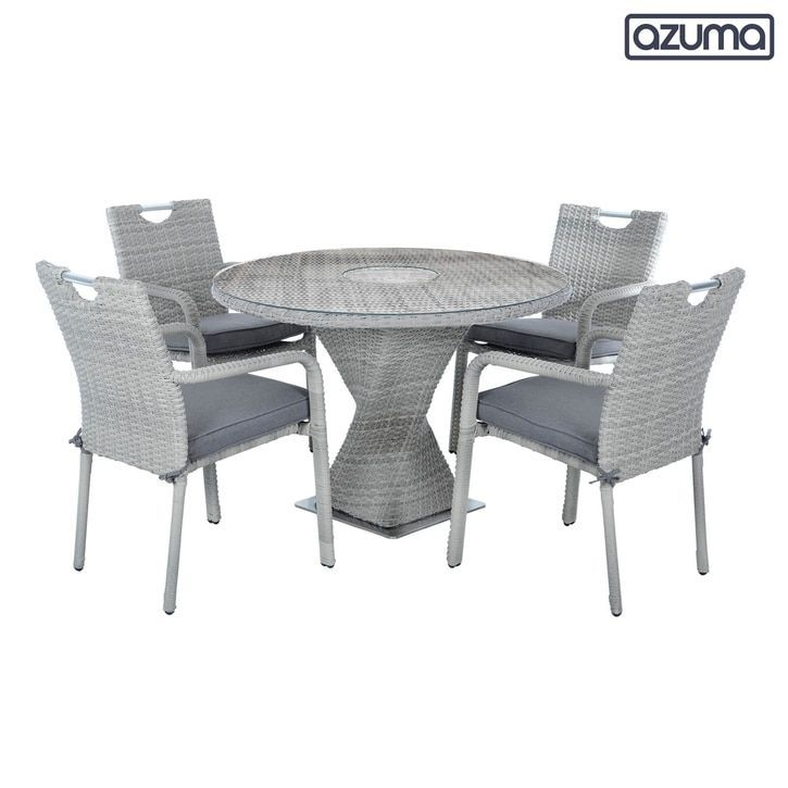Barcelona Garden Dining Set Round Table 4 Chairs Grey Rattan Barcelona Chairs Dining In 2020 Garden Dining Set Rattan Garden Furniture Cheap Rattan Garden Furniture