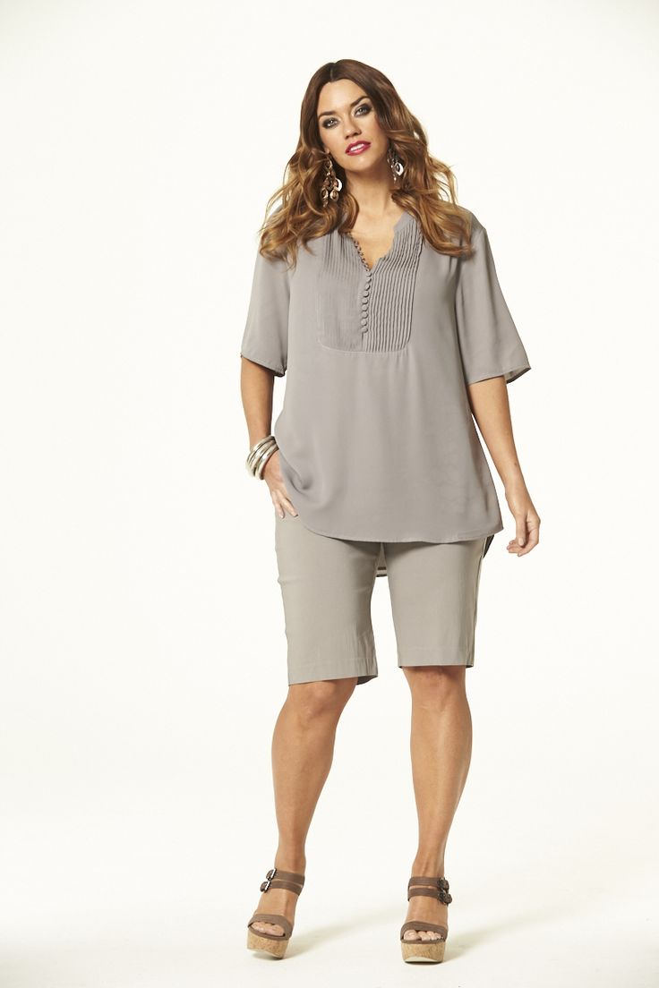Peachy Button Top in Taupe  #mysize #plussize #fashion #plussizefashion #spring #newarrivals #outfit