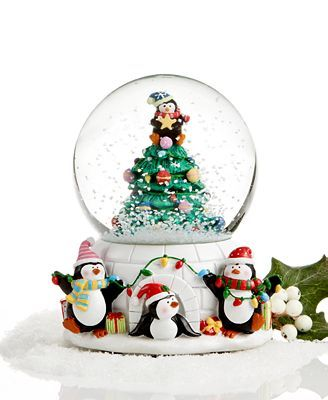 Holiday Lane Snow Globe, Musical Penguins