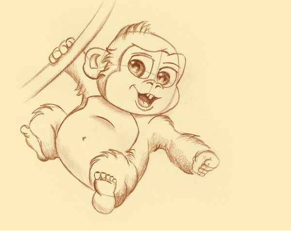 Cute Monkey... in 2019 | Cute drawing images, Monkey ...
