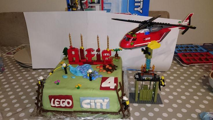 Lego city firefighter style birthday cake