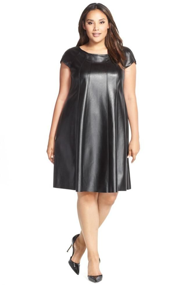 Plus Size Faux Leather Pieces To Add To Your Wardrobe: Nordstrom's Faux Leather Trapeze Dress
