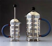 "<p class=""description"">Michael Graves designed this coffee maker for Alessi in 1988, as a development to his famous Bird Kettle! He drew inspiration from a method of making coffee that was very popular in Northern Europe & America, but actually originated in Italy in the 1920's: The Press Filter.It is composed of a stainless steel outer frame with a polyamide handle and the inside container in heat resistant glass. It makes coffee with a particular taste, different not only from espresso…"