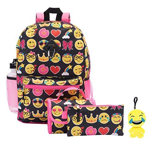 Back to school is fun for kids with this 6 pc emoji backpack set for kids. This full size 16 inch backpack is made with cute emoji design and durable canvas. The insulated lunch bag is detachable with clip. Plush 4″ emoji keychain will attach to backpack. This backpack set is great for back to …