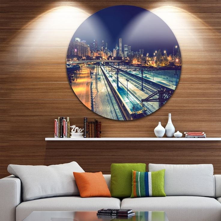 Designart 'Welcome in Chicago Highway Traffic' Cityscape Round Metal Wall Art