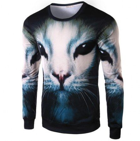 2016 Spring Fashion animal cat sweatshirt for men 3d pullover long sleeve
