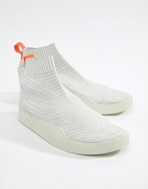 best service 2849b 6980c adidas Originals Adilette Primeknit Sock Summer Sneakers In White CM8226