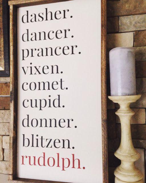 Reindeer Names wood plaque - Christmas decor