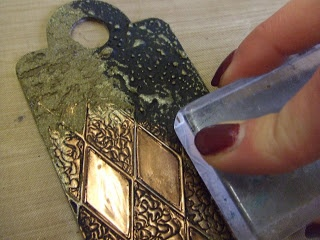 Yours Artfully:     Step by step....Beautiful Tag with embossed metal, relief paste, ferro , stamp, gold leaf paint