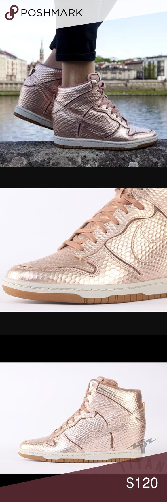 """Nike rose gold dunk sky hi wedge tennis shoes Brand new without box. Size 7. Authentic Nikes in a metallic rose gold embossed snake print look. 2.6"""" hidden wedge inside the shoe. Bloggers favorite and right on trend! Nike rose gold dunk sky hi wedge tennis shoes. Nike Shoes Athletic Shoes"""