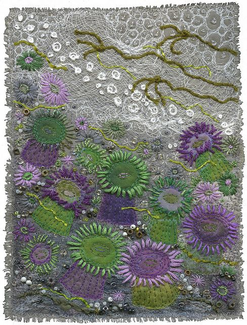 Sea Anemones by Kirsten's Fabric Art, via Flickr. Green and purple anemones.  Hand and machine embroidery. Cheesecloth, beads, cotton quilting fabric, silk and wool yarn, embroidery floss. Kirsten Chursinoff