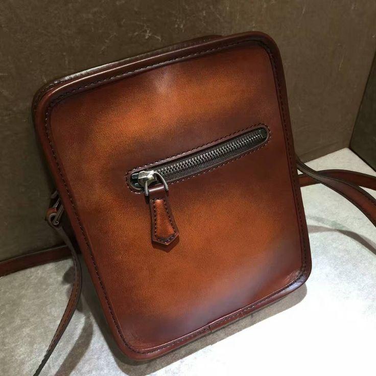 TERSE_Orange leather shoulder bag for man handmade patina male casual messenger bag mini crossbody shoulder bag custom service