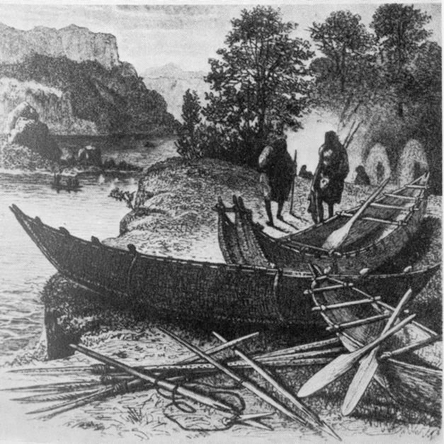 The Yahgan people of Tierra del Fuego were the southernmost population in the world at the time of European contact. They were known as the Canoe Indians, and their bark canoes were attractive and sophisticated -- more so than the bark canoes of Australia, but perhaps not as refined as those of North America. (The bark canoes of the nearby Alacaluf people, living on the Strait of Magellan in Chile, were similar.) These were big canoes, typically 24 to 26 feet, and occasionally more than 30.