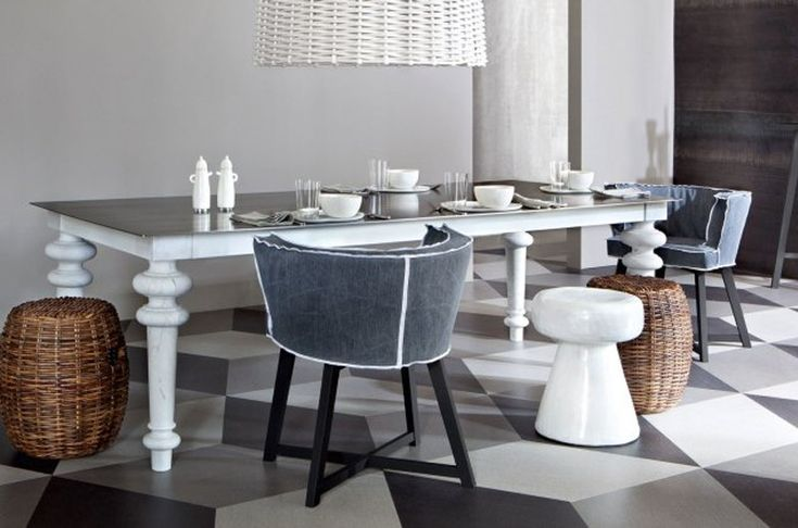 Gray 32 is a square #Table with frame made of solid wood and marble feet, available with 4 different tops. Design by Paola #Navone for @gervasoni1882