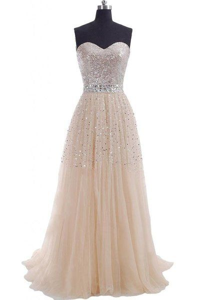 Classic Prom Dress Tulle Party Dress Champagne Evening Dress Long Evening Dresses 2016 Cheap