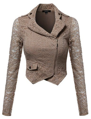 Gorgeous Lace Delicate Short Blazer Jacket with Zipper Closure