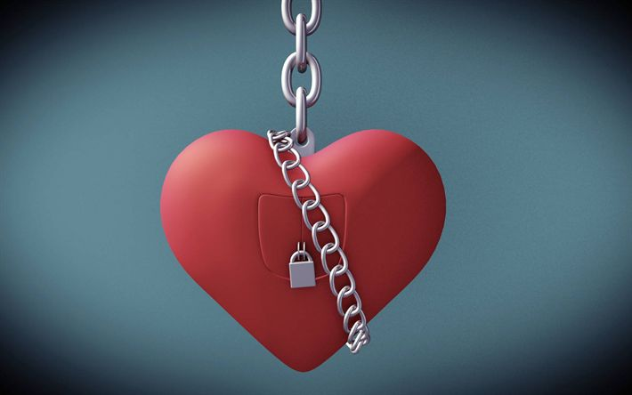 Download wallpapers Valentine Day, 3d heart, lock, creative