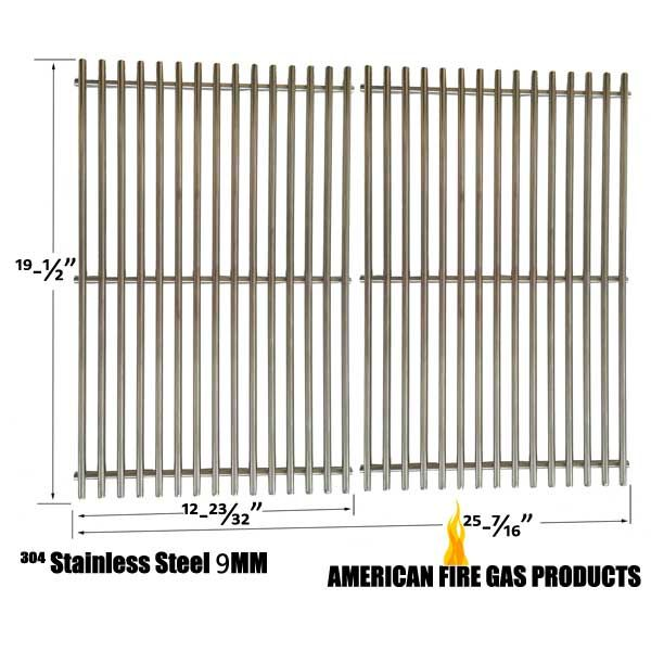 2 PACK 9MM HEAVY DUTY REPLACEMENT STAINLESS STEEL COOKING GRATES FOR WEBER GENESIS E AND S SERIES GAS GRILL MODELS  Fits Weber Models: 3741001, 3741301, GENESIS EP-310 LP, 3742301, 3751001, 3751301, GENESIS EP-320 LP, 3770001, 3841001, 3841001, GENESIS E-310 NP, 3841301, GENESIS EP-310 NG, 3851001 GENESIS E-320 NG, 3870001, 3880001, 6511301, 6521301, 6531301, 6550001, 6570001, 6611301, 6621301, 6650001, 6670001,